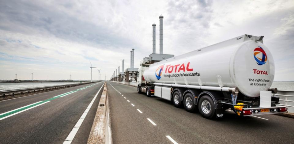 A Total truck delivering lubricants at the Oosterscheldekering